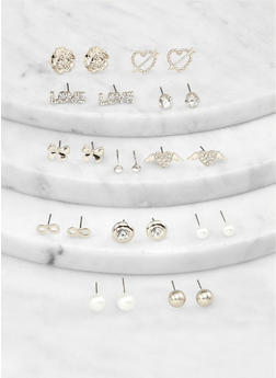 Metallic Rhinestone Heart Stud Earrings Set - 1135062920399