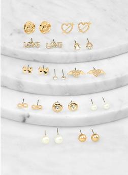 Metallic Rhinestone Heart Stud Earrings Set - 1135062920399