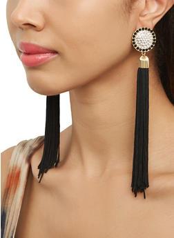 Rhinestone Disc Tassel Earrings - 1135062921057