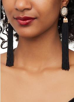 Circular Rhinestone Tassel Drop Earrings - 1135062921075