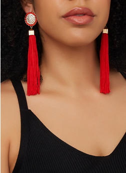 Circular Rhinestone Tassel Drop Earrings - 1135062921075