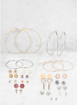 Set of 20 Assorted Hoop and Stud Earrings - 1135062921084