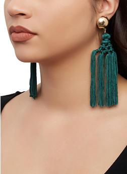 Woven Tassel Drop Earrings - 1135062921457