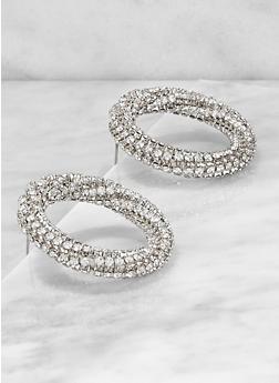 Circular Metallic Rhinestone Post Back Earrings - 1135062921754
