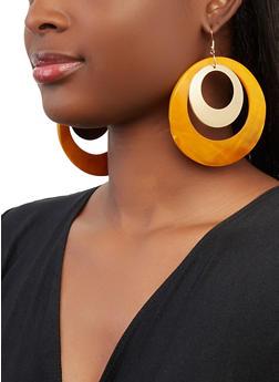 Metallic Insert Shell Disc Earrings - 1135062921879