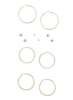 Set of 6 Rhinestone Stud and Multi Textured Hoop Earrings - 1135062922393