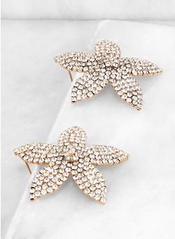Rhinestone Flower Earrings - 1135062922823