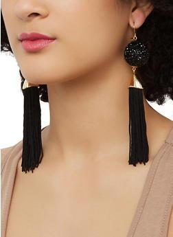 Druzy Tassel Drop Earrings - 1135062922970
