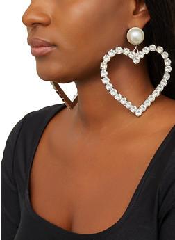 Large Faux Pearl Rhinestone Heart Earrings - 1135062923009