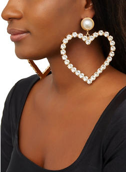 Large Faux Pearl Rhinestone Heart Earrings - 1135062923009