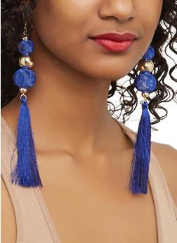Mesh Beaded Tassel Earrings - 1135062923027