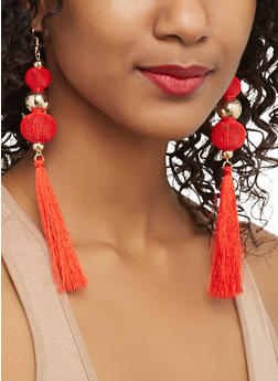 Mesh Beaded Tassel Earrings - 1135062923027