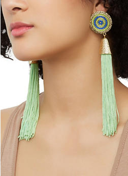 Tassel Beaded Disc Earrings - 1135062923190