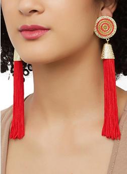 Tassel Beaded Disc Earrings - 1135062923190