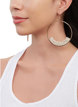 Rhinestone Trim Circle Drop Earrings - 1135062923202