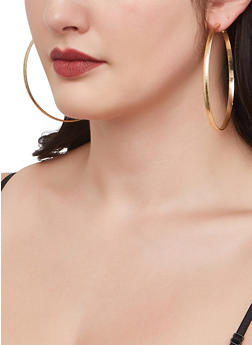 Set of 9 Metallic Textured Hoop Earrings - 1135062923213