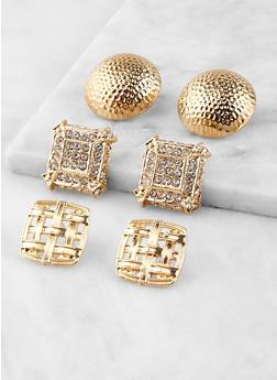 Large Metallic Stud Earring Trio - 1135062923429
