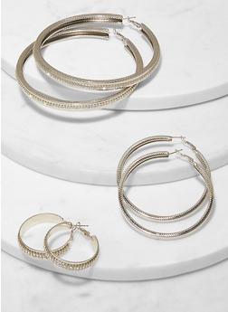 Variegated Rhinestone Metallic Hoop Earring Trio - 1135062923557