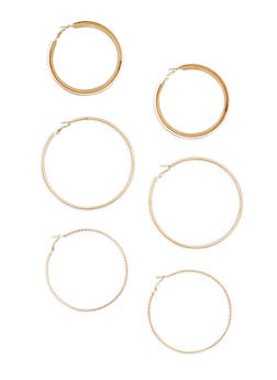 Set of 3 Large Metallic Hoop Earrings - 1135062923566