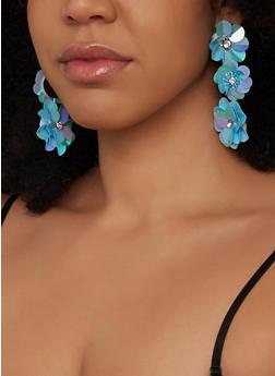 Rhinestone Flower Drop Earrings - 1135062923636