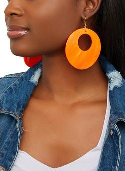 Circle Cut Out Shell Drop Earrings - 1135062923853