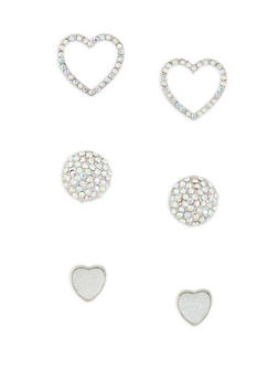Heart Rhinestone Stud Earrings Set - 1135062924080