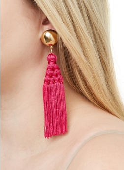 Woven Tassel Earrings - 1135062924127