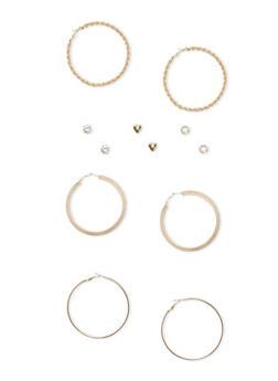Set of 6 Multi Textured Hoop and Rhinestone Stud Earrings - 1135062924755