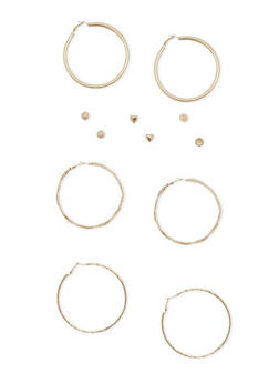 Set of 6 Multi Textured Hoop and Stud Earring Set - 1135062924756