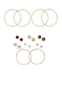 Textured Hoop and Stud Earrings Set - 1135062925197