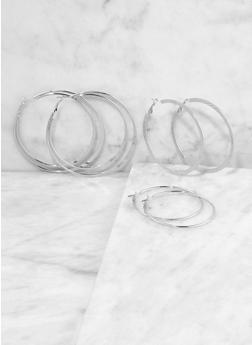 Textured Metallic Flat Hoop Earring Trio - 1135062925517