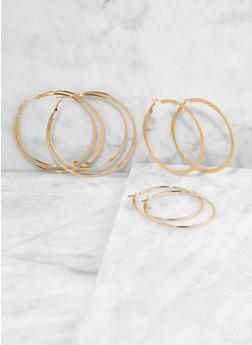 Textured Metallic Hoop Earring Trio - 1135062925517