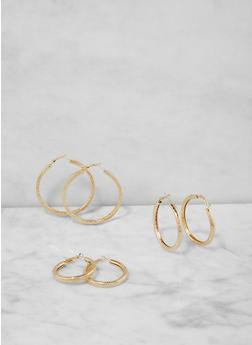 Assorted Size Hoop Earring Trio - 1135062925531