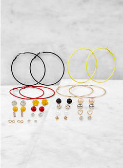 Assorted Stud and Hoop Earrings Set - 1135062926081