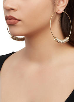 Rhinestone Multi Beaded Hoop Earrings - 1135062926084