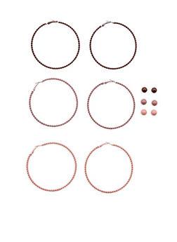Set of Coated Hoop and Stud Earrings - 1135062926118
