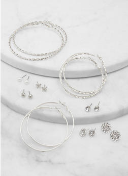Set of 9 Assorted Butterfly Stud and Hoop Earrings - 1135062926326