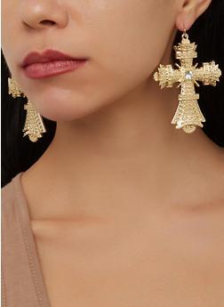 Metallic Cross Earrings - 1135062926858