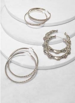 Assorted Metallic Bamboo Hoop Earring Trio - 1135062927170