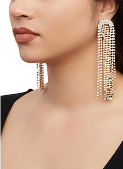 Rhinestone Fringe Drop Earrings - 1135062927397