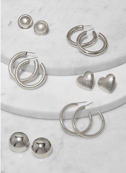 Set of 6 Assorted Metallic Stud and Hoop Earrings - 1135062927487