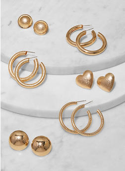 Set of 6 Assorted Metallic Stud and Hoop Earrings - 1135062927487