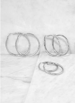 Metallic Hoop Earring Trio - 1135062927561