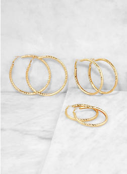 Metallic Hoop Earring Trio - 1135062927561
