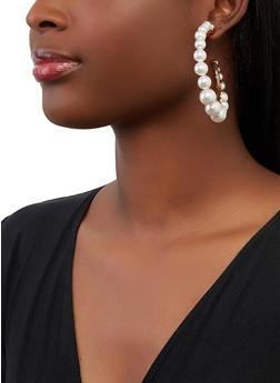 Faux Pearl Open Hoop Earrings - 1135062927634