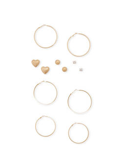 6 Assorted Stud and Hoop Earrings Set - 1135062927691