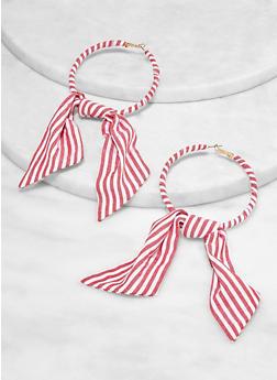Striped Fabric Bow Hoop Earrings - 1135062928124