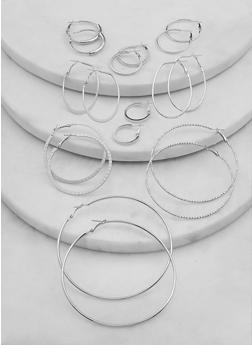 Multi Size Metallic Hoop Earrings Set - 1135062928423