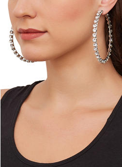 Rhinestone Hoop Earrings - 1135062928608