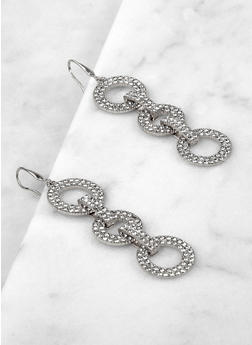 Interlocking Rhinestone Circle Drop Earrings - 1135062929410